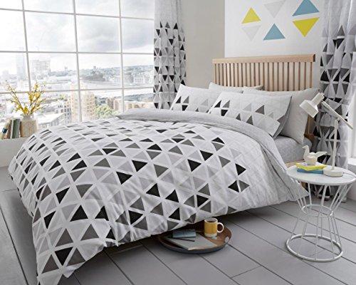 Modernes Geo Dreieck, geometrische Premium bedruckt Umdrehbar Bezug Bettwäsche & 2Kissenbezüge Bett-Set, alle Größen erhältlich, grau, Doppelbett