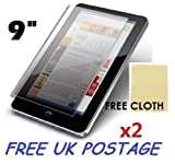 2x Universal Android Windows Tablet PC Screen Protector Cover Shield + Free Cloths 2 Pack (9' inch)