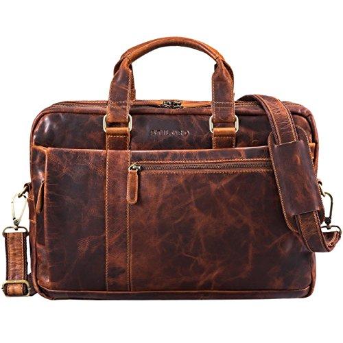 STILORD 'Nico' Vintage Umhängetasche Leder Herren Damen 15,6 Zoll Laptoptasche groß Aktentasche Arbeit Büro Uni echtes Rindsleder, Farbe:Kara - Cognac - Leder-grenze