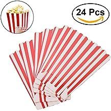 NUOLUX Popcorn Boxes Contenedores Papel Popcorn Bolsas bolsa de palomitas Red Striped Pack de 24 caja