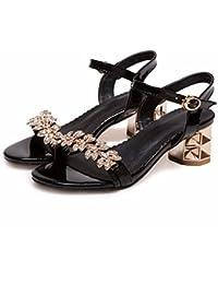La mujer de verano, sandalias, sandalias de diamantes grandes astilleros, sandalias de mujeres,negro,42