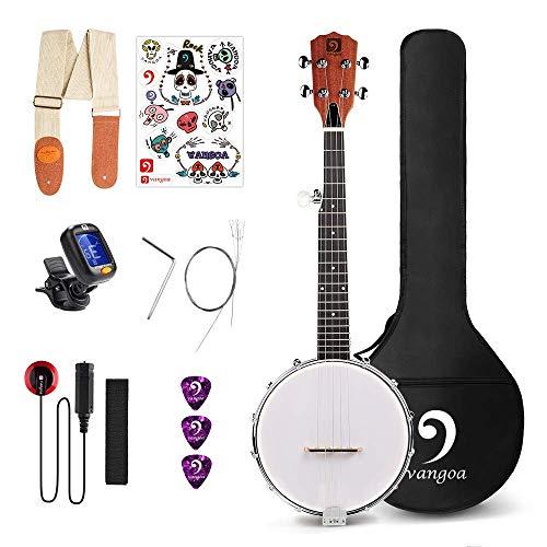 Vangoa 5-saitiges Banjo Remo Kopf, geschlossener Rücken mit Einsteigerset, Stimmgerät, Gurt, Tonabnehmer, Saiten, Plektren und Tasche Small Size braun