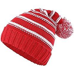 Decentron - Gorro de Punto - Rayas - para Mujer Rojo Rosso Medium