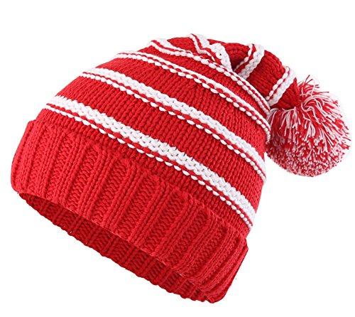 Decentron Damen Strickmütze, Gestreift Gr. Medium, rot Multi Color Knit Skull Cap