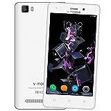 """Smartphone Libres Baratos 4g,8Pcs V Mobile A10 5.0"""" Doble Sim Android 7,0 8GB ROM 5MP Cámara 2800mAh Batería 1.3GHz Quad CoreTelefono Movil Libres Baratos Wifi, Bluetooth,GPS(Blanco)"""