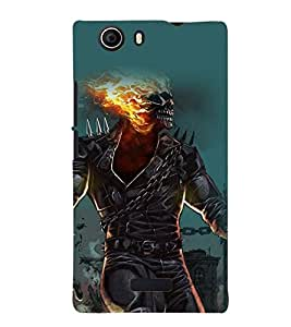 Printvisa Burning Skeleton Haunted Pic Back Case Cover for Micromax Canvas Nitro 2 E311::Micromax Canvas Nitro 2 (2nd Gen)