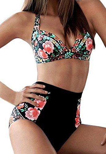 CharmLeaks Womens Retro Floral High Waisted Bikinis Sets Halter Bikini Swimwear Swimsuit Test