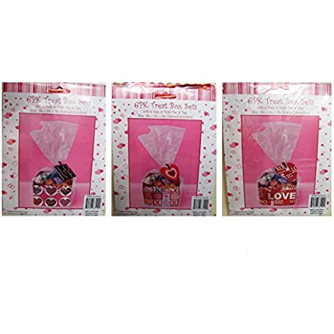 Valentine Pink & Red Treat Box Sets - Boxes, Cellophane Bags, Twist Ties and Tags - 3 x 3 x 2 inches (Set of 18) by Regent Products Corp