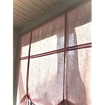 Shabby Raffrollo altrosa ROSEWOOD Leinen Optik 160 B x 120 H
