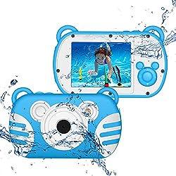 CamKing Caméra Étanche Enfant, K6 Appareil Photo Numérique Étanche pour Enfants Dessin Animé, Écran de 2,7 Pouces (Bleu)