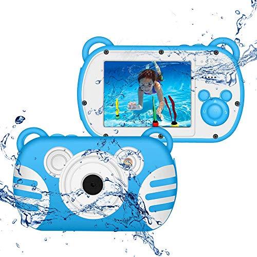 CamKing wasserdichte Digitalkamera für Kinder, DEK6 HD 1080P Unterwasser Kinder Videokamera 18 MP 2,7 Loll Bildschirm 8X Mini Kinder Digitale Camcorder für Kindergeschenke (Blau)