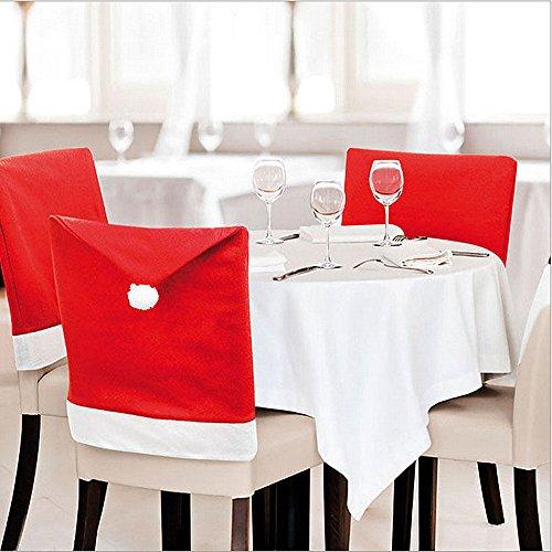 Jessie & Letty Weihnachten 6Stück Santa Hat Esszimmerstuhl Bezüge Santa Clause Red Hat Stuhl–Weihnachten Party - Red Dinner-stühle