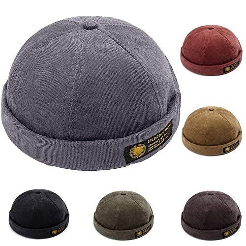 YAMEE Docker-Cap Docker Mütze Seemannsmütze Hafenmütze Bikercap Basecap ganzjährig Tragbar Hat (Grau)