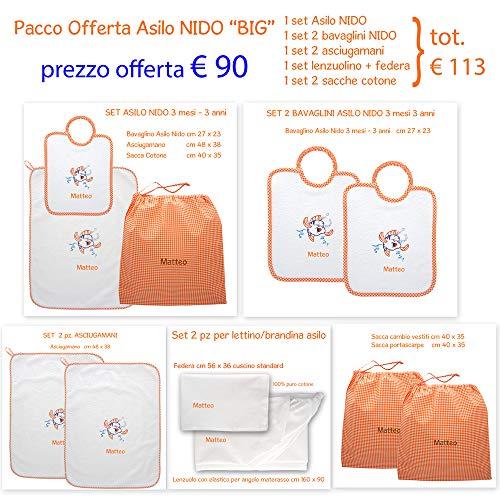 Coccole- Set ASILO NIDO - 11 pezzi con nome personalizzato per asilo nido -3 mesi - 3 anni (Offerta Big Arancione)