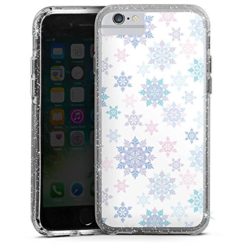 Apple iPhone 6 Bumper Hülle Bumper Case Glitzer Hülle Frost Schneeflocken Winter Bumper Case Glitzer silber
