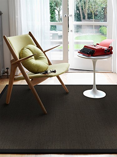 benuta Sisal Teppich mit Bordüre Schwarz 160x230 cm | Naturfaserteppich für Flur und Wohnzimmer