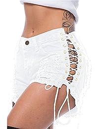 44e5aec52884fc junkai Damen Shorts Jeans, Mode Mid Waist Bandage Kurze Jeans mit Taschen  Tassel Zerrissene Hosen