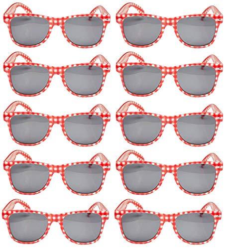 Das Kostümland 10er-Set Rot Weiß Karierte Brille Andreas