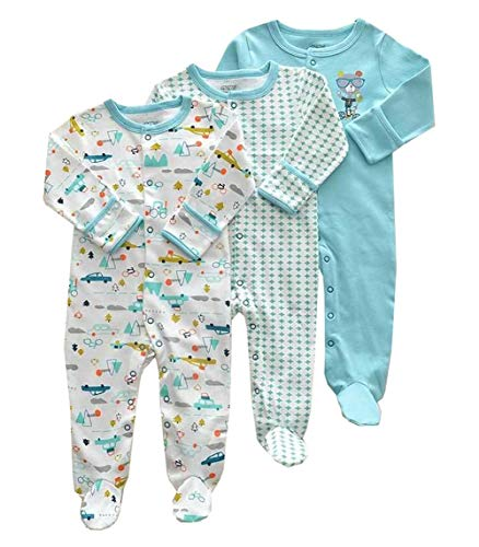 Footie Sleeper (Mornyray Neugeborenes Baby Unisex 3 Pack Baumwolle Footies Romper Cartoon Sleeper Pyjamas (Color : Ice Blue Squirrel, Size : 6-9M))