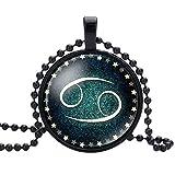 B.Z La Vie Halskette Frau/Mädchen Anhänger 12 Sternbild Schwarzes Glas mit Kugelkette Krebs