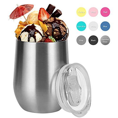 Vivibel Isolierbecher, 320ml doppelwandige isolierbecher Edelstahl für Kaffee, Bier, Eiscreme usw - Ecru - - 3-cup Ersatz-glas