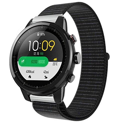 samLIKE Armband | für Huami Amazfit Stratos 2/2S | Nylon-Schleife | Streifen Design | Ersatzarmband | 240MM x 22MM | 5 Beliebte Stile (⭐️ Schwarz)
