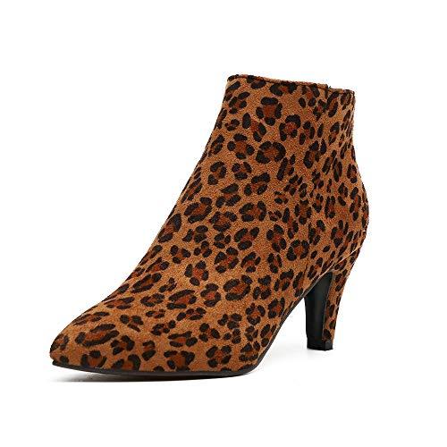 Botines Mujer Tacon Aguja Cuero Sintético Gamuza Botines Camperos Cremallera Comodos Elegante Botas Tacon 7cm Leopardo 39 EU