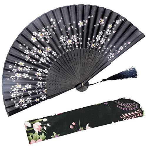 Abanico plegable OMyTea Sakura con diseño chino/japonés retro y con funda protectora...