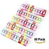 ilauke Lot de 50PCS Clips Pinces en Plastique pour Reliure Couture Artisanat Couleurs Assorties
