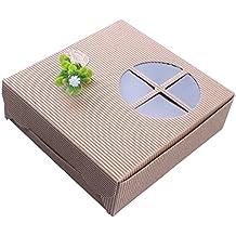 kimmyku Pack de 12papel Kraft), color marrón Rígido Bakery Cookies regalo Candy Chocolate cajas de PIZZA comida con ventana transparente para boda fiesta Picnic 14* 14* 4,5cm