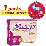 Champs High Absorbent Premium Pant Style Diaper (Pack Of 1) (Free 1-Pair Socks) | Premium Pant Diapers | Premium Diapers | Premium Baby Diapers | Anti-rash And Anti-bacterial Diaper | … (Small, 60)