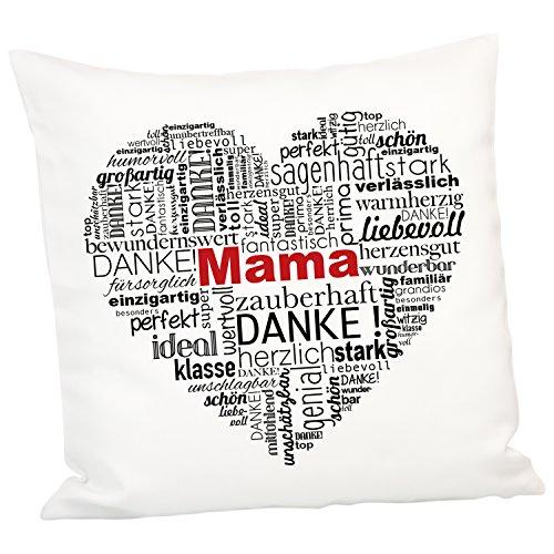 Kissen - Herz aus Worten für Mütter (ohne Personalisierung): Dekokissen 40x40 cm zum Muttertag, zum Geburtstag oder zu Weihnachten für Mama - optional personalisiert mit Name -
