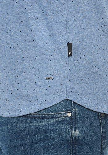 !Solid Tedros Herren T-Shirt Kurzarm Shirt V-Ausschnitt Brusttasche Aus 100% Baumwolle Meliert Federal Blue (1414)