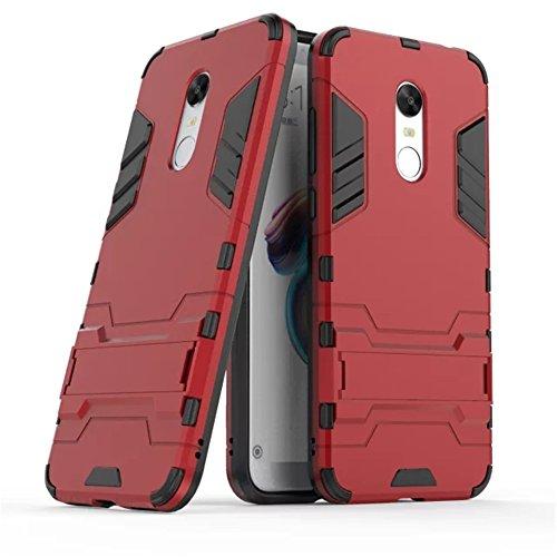 GOGME Funda para Xiaomi Redmi 5 Plus, Soporte Plegable Case, Rojo