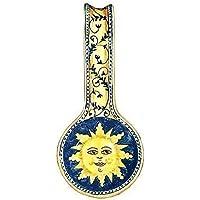 CERAMICHE D'ARTE PARRINI- Ceramica italiana artistica , posamestolo decorazione sole , dipinto a mano , made in ITALY