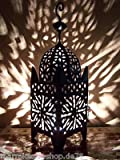 Orientalische Laterne aus Metall Schwarz Frane 51cm groß | Marokkanische Gartenlaterne für draußen, Innen als Tischlaterne | Marokkanisches Gartenwindlicht Windlicht hängend oder zum hinstellen