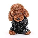 Directtyteam Hund Regenmantel Hundejacke Outdoor Mops Hundemantel Winter Wasserdicht Jack Russel Hund Kleidung Reflektierend Hundejacke Mit Kapuze Yorkshire (S, Schwarz)