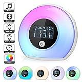 Nachtlampe mit Bluetooth Lautsprecher, Macrimo Dimmbar Stimmungslicht mit LCD Display/Smart Wecker, 4 Helligkeit, 5 Farbwechs