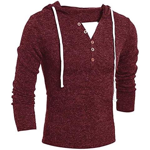 Suéter de los hombres,, Amlaiworld Chaqueta con capucha de invierno (L, vino rojo)