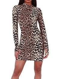 DEELIN Femmes Sexy Imprimé Léopard À Manches Longues Robes Moulantes Ras du  Cou À La Mode 469a7e42f24e