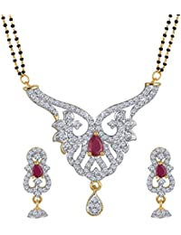 Spargz Designer Party Wear AD Stone Studded Double Line Beaded Manglsutra Set For Women AIMS 140