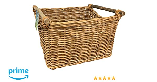 The Pescara Collection Small Rectangular Rattan and cane Basket storage for logs toys washing or shoes