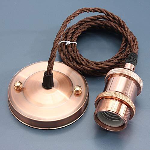 KINGSO E27 Hängeleuchte Vintage Retro Pendeleuchte Industrie 2Meter Kabel 3-Draht-Schnur Deckenleuchte mit VDE Zertifikat Rose Gold -