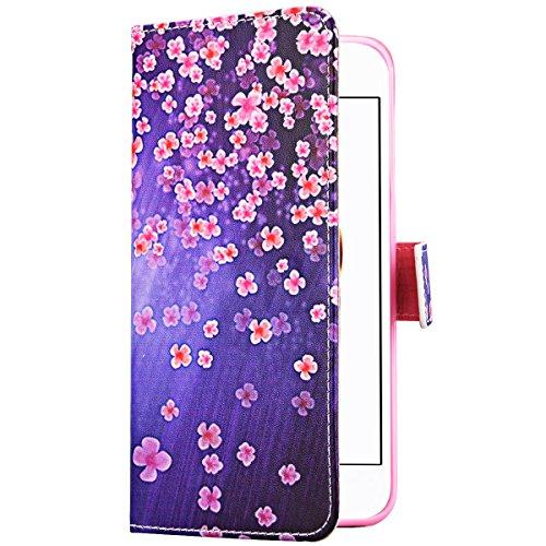 Coque iPhone 7 Plus , We Love Case Motif Attrapeur Rêve Étui Cuir de Haute Qualité PU Leather Pratique en Cuir Portefeuille Housse de Protection pour Apple iPhone 7 Plus Fermeture Magnétique Case Légè Fleurs Violet