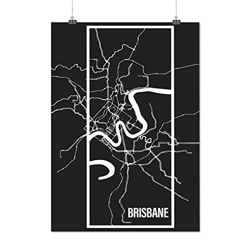 Brisbane Stadt Karte Mode Groß Stadt Karte Mattes/Glänzende Plakat A3 (42cm x 30cm) | Wellcoda