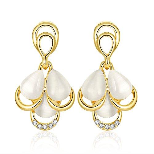 Butterme Gold überzogene Opalwassertropfen Dame Dangle Ohrringe Elegante Frauen Schmuck (Gelbes Gold)