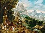 Das Museum Outlet–Landschaft mit der Predigt von Johannes der Täufer (1535–1540) (29x 39) (Wien, Wien)–Leinwand Print Online kaufen (76,2x 101,6cm)