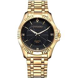 Herren-Armbanduhr, elegant, Goldbeschichtung, Edelstahl mit Diamanten, klassisch, Schwarz, Fq-005