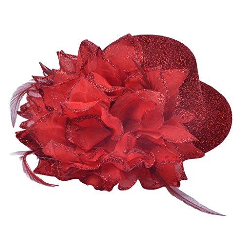 MagiDeal Frauen Mädchen Fascinator Hut Haar Clip mit Feder Blumen Party - Rot (Haar Accessoires Für Tanz Kostüme)