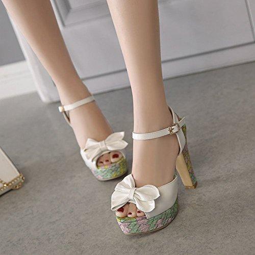 Mee Shoes Damen süß Schleife Plateau Slingback Sandalen Weiß